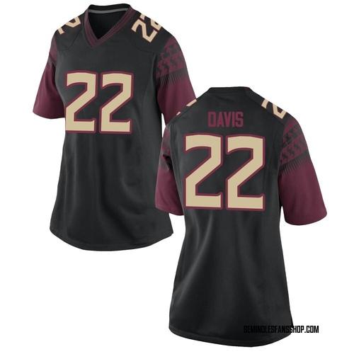 Women's Nike TJ Davis Florida State Seminoles Replica Black Custom Football College Jersey