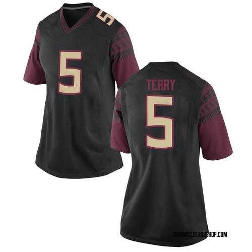 Women's Nike Tamorrion Terry Florida State Seminoles Game Black Custom Football College Jersey