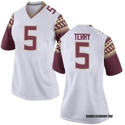 Women's Nike Tamorrion Terry Florida State Seminoles Game White Custom Football College Jersey