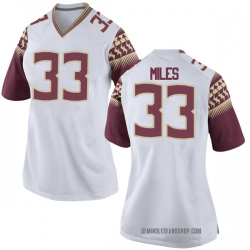 Women's Nike Will Miles Florida State Seminoles Game White Football College Jersey