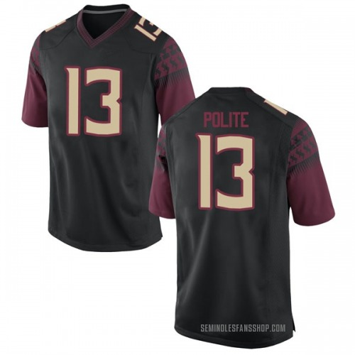 Youth Nike Anthony Polite Florida State Seminoles Game Black Football College Jersey