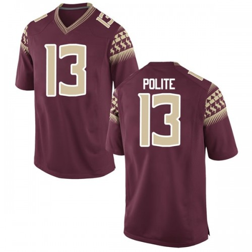 Youth Nike Anthony Polite Florida State Seminoles Game Garnet Football College Jersey