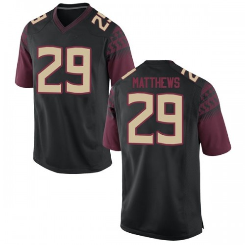 Youth Nike D.J. Matthews Florida State Seminoles Game Black Football College Jersey