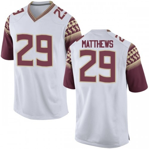 Youth Nike D.J. Matthews Florida State Seminoles Game White Football College Jersey