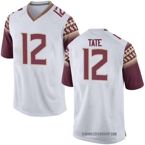 Youth Nike Demorie Tate Florida State Seminoles Game White Custom Football College Jersey