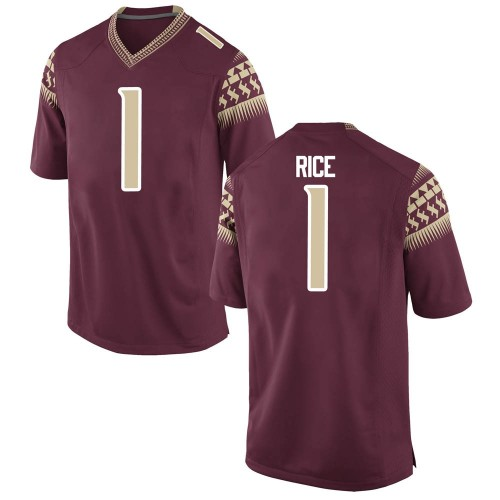 Youth Nike Emmett Rice Florida State Seminoles Game Garnet Football College Jersey