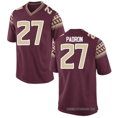 Youth Nike Fernando Padron Florida State Seminoles Game Garnet Football College Jersey