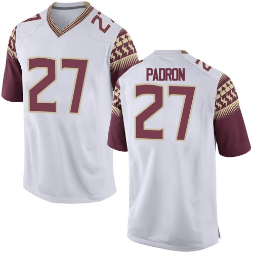 Youth Nike Fernando Padron Florida State Seminoles Game White Football College Jersey