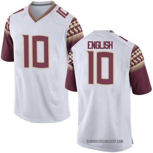 Youth Nike Gino English Florida State Seminoles Game White Football College Jersey