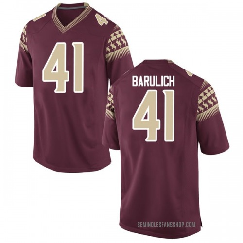 Youth Nike Michael Barulich Florida State Seminoles Game Garnet Football College Jersey