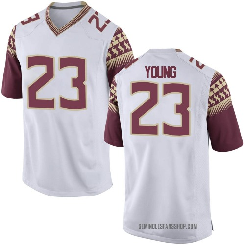 Youth Nike Tre Young Florida State Seminoles Game White Football College Jersey