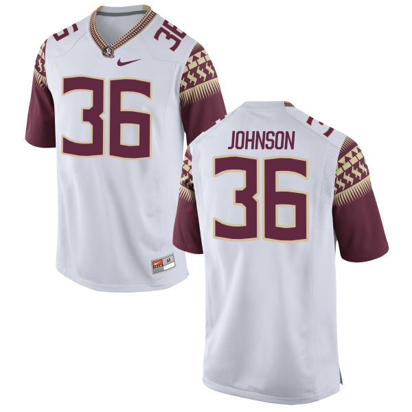 Youth Nike Eric Johnson Florida State Seminoles Game White Football Jersey
